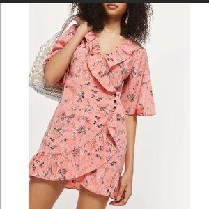 Topshop Pink Floral Wrap Dress